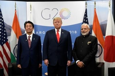 初の日米印首脳会談、中国を念頭に結束示す