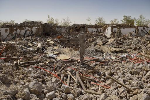 仏軍に空爆された故カダフィ大佐の別荘跡、マリ