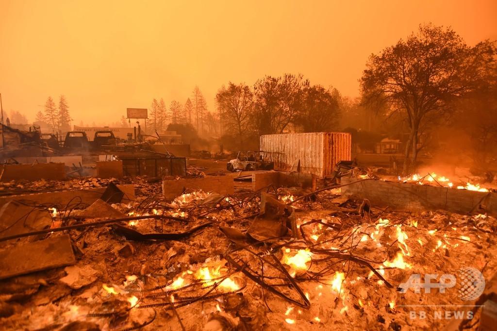 「送電線からの発火が原因」、18年米カリフォルニアの森林火災