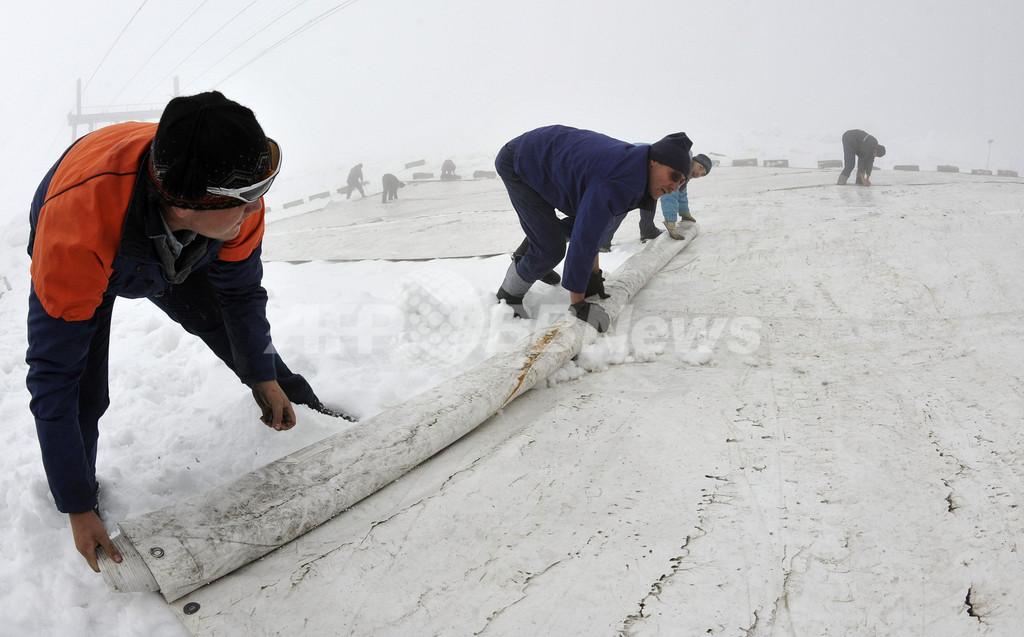 独最高峰の氷河に「日よけカバー」、地球温暖化に対抗
