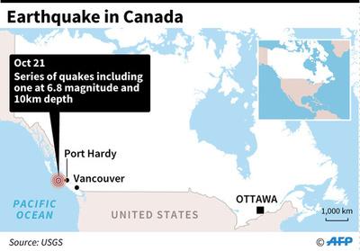 カナダ西岸沖で地震が立て続けに4度発生、最大でM6.8