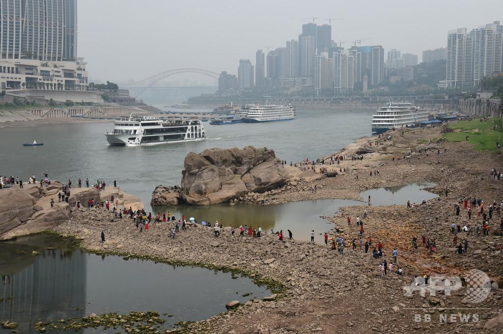 千年の「神亀」が姿を現す、重慶の長江の水流減少で