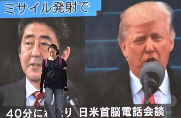 日米首脳が電話会談、「北朝鮮の脅威」で緊密な連携を確認