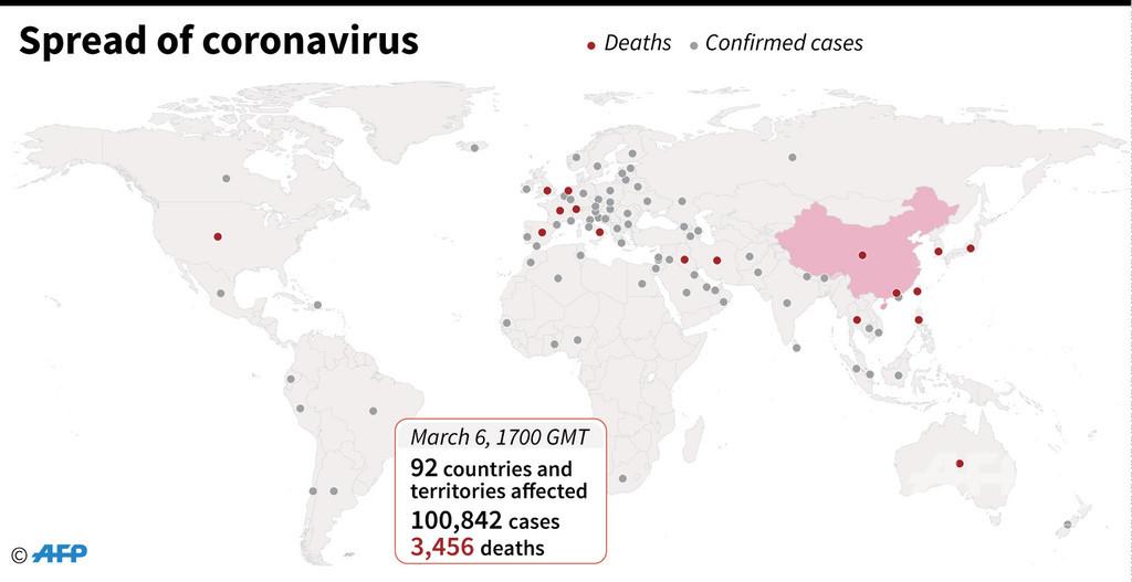 新型コロナウイルス、現在の感染者・死者数(7日午前2時時点)