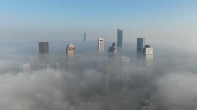 動画:霧に覆われる南京市