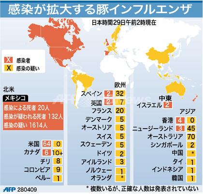 【図解】豚インフルエンザ感染マップ