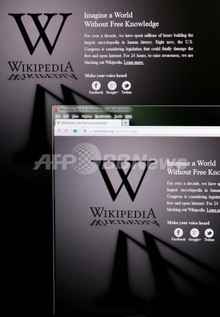 ウィキペディア英語版、24時間停止 著作権侵害防止法案に抗議