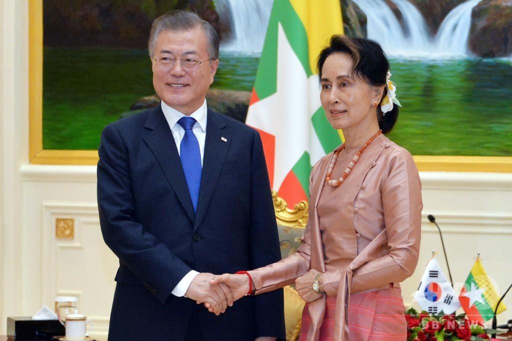 文大統領がミャンマー訪問、スー・チー氏と会談