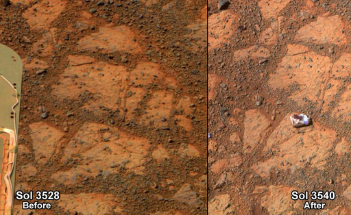 火星に突如「ジャムドーナツ」型の石、無人探査車が撮影