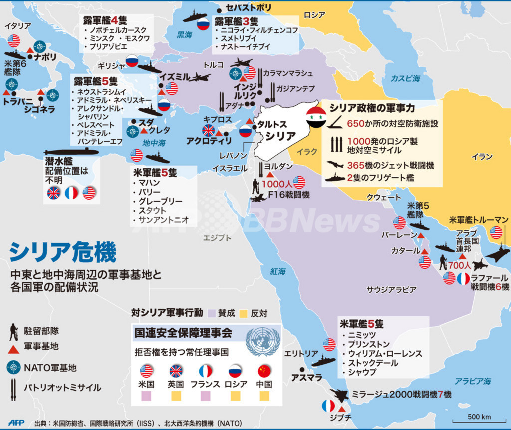 【図解】シリア周辺の各国軍の配備状況