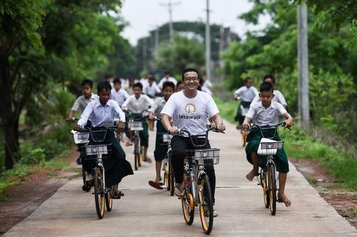 もう2時間歩かなくてもいい! シェア自転車を通学に再利用 ミャンマー