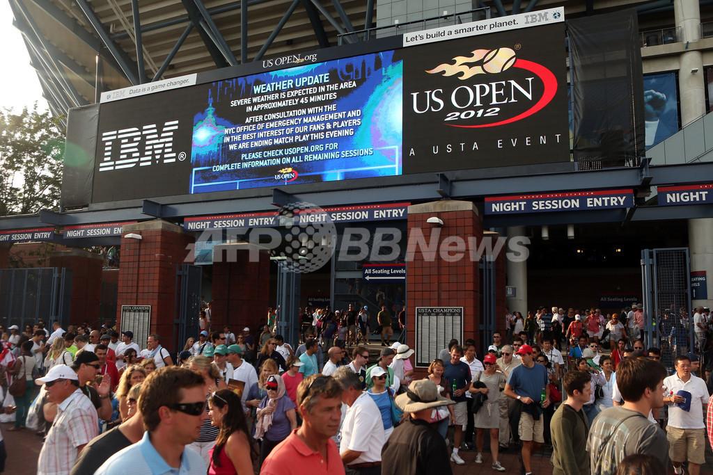 全米オープンが悪天候で順延、男子シングルス決勝は月曜開催に