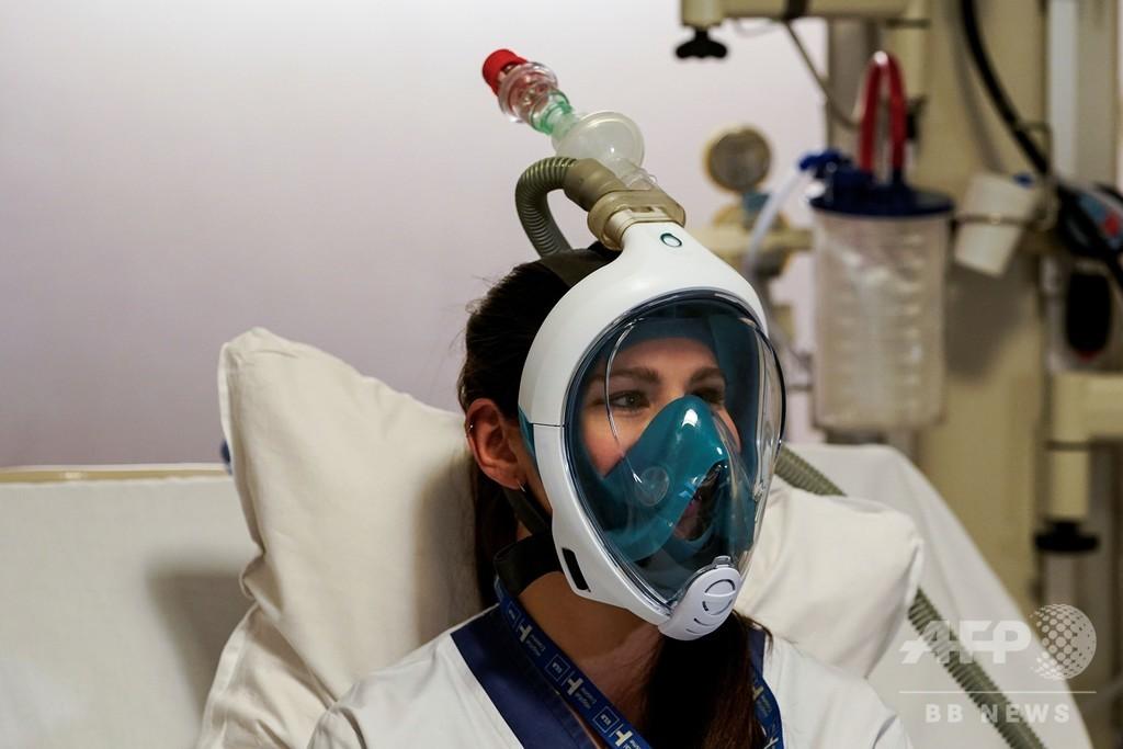 シュノーケルマスクを人工呼吸器に改造、患者増加で緊急対応
