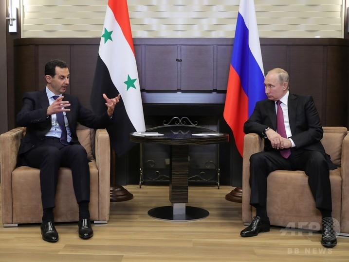 プーチン氏、シリア大統領と会談 政治プロセスの進展呼び掛け