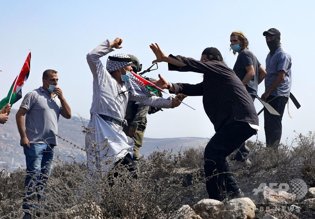 パレスチナ人とユダヤ人入植者ら、素手で殴り合うなど小競り合い ヨルダン川西岸