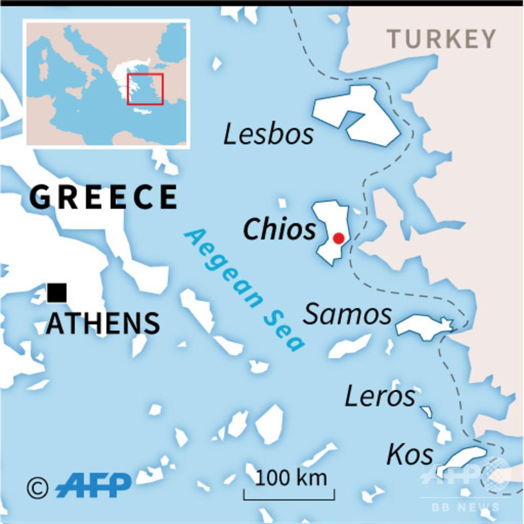 移民収容施設で発熱の女性死亡、暴動発生し火災 ギリシャ・ヒオス島