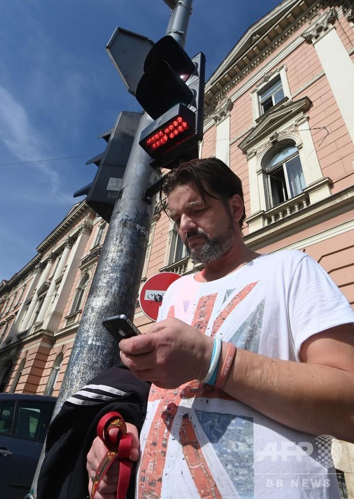 歩きスマホでも赤信号見逃さない、クロアチア首都に新型信号機