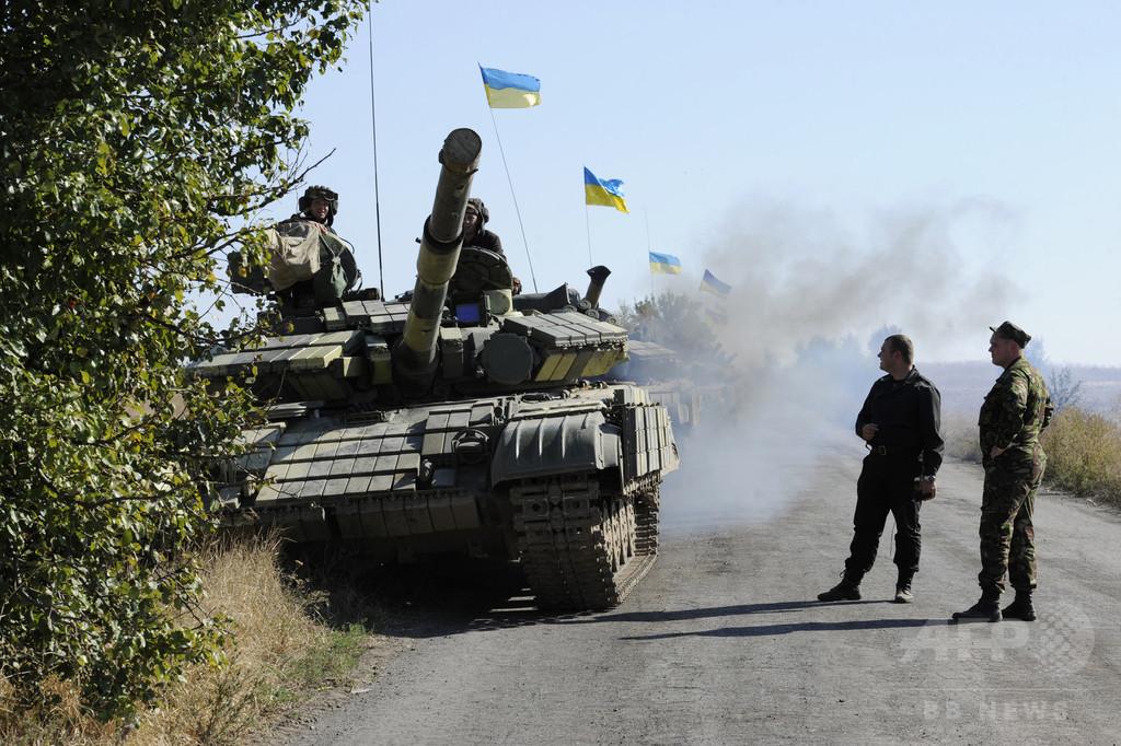 ウクライナ政府支持派、親ロシア派支配地域への線路を封鎖