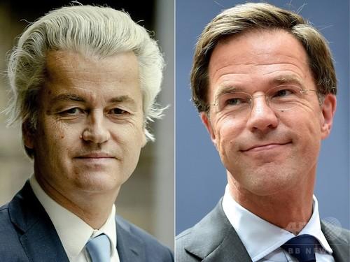オランダ総選挙まで2日、首相と極右党首が激論