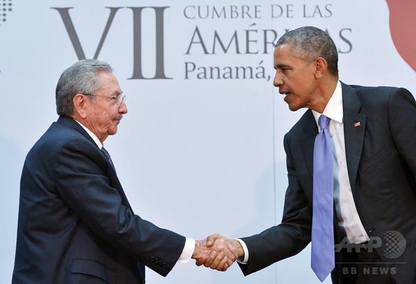 米・キューバ首脳が歴史的会談、冗談も飛び出す