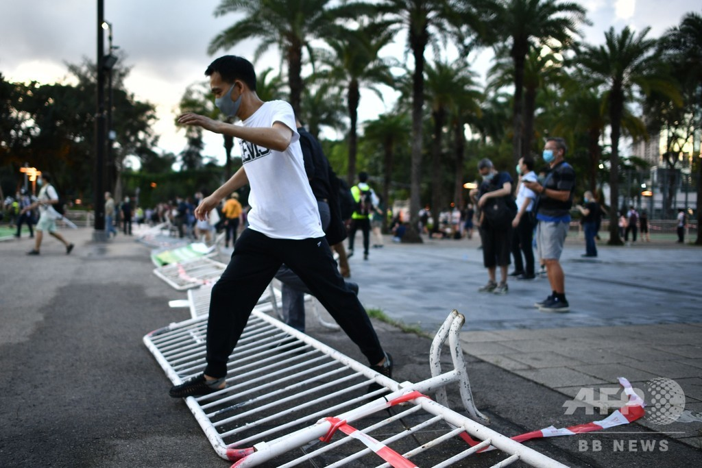 香港市民、禁止令に反し集会決行 天安門事件を追悼