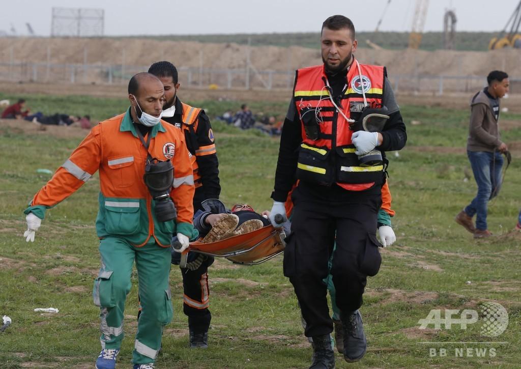 ガザ境界で32人負傷、イスラエル兵の銃撃受け