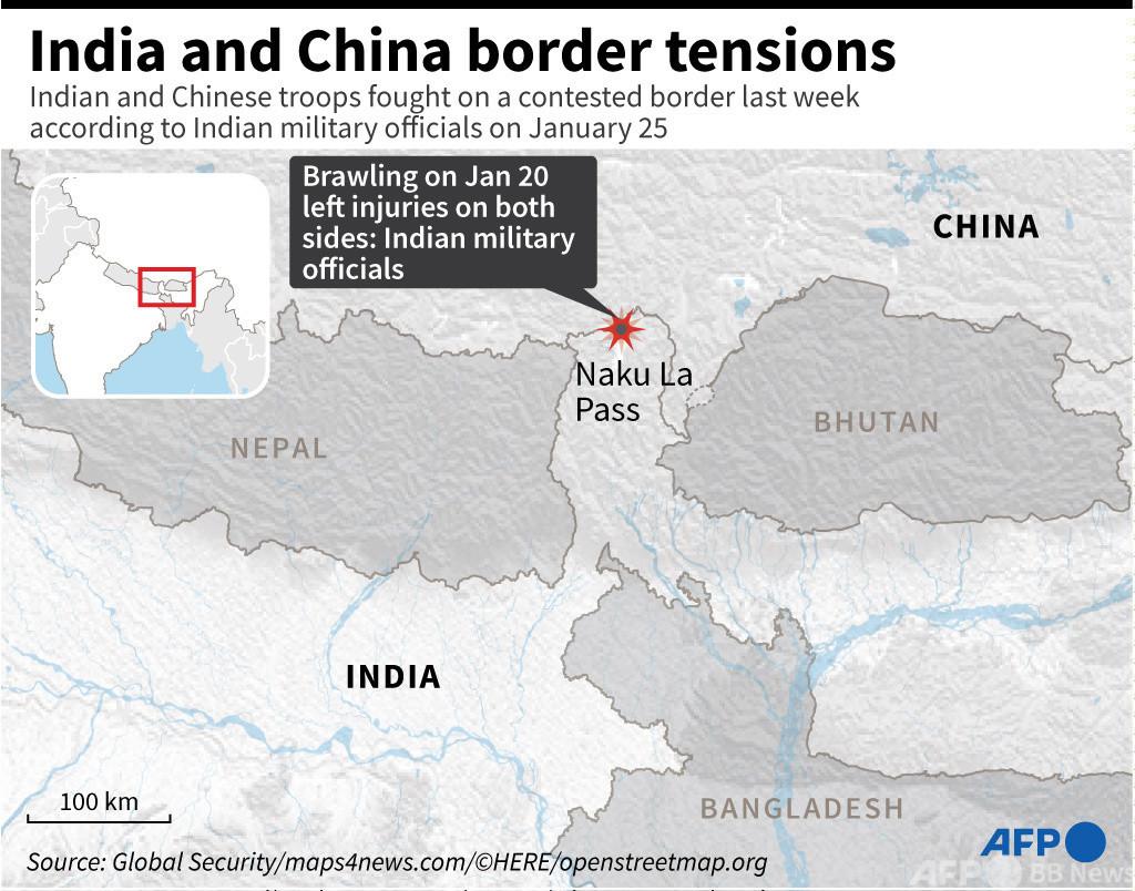 中印ヒマラヤ国境でまた乱闘、両軍に負傷者