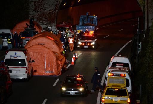 中央道・笹子トンネル崩落事故、死者9人に