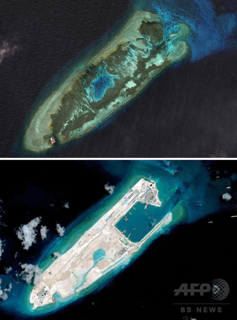 中国が開発進める南沙諸島の変貌、10年前との比較写真