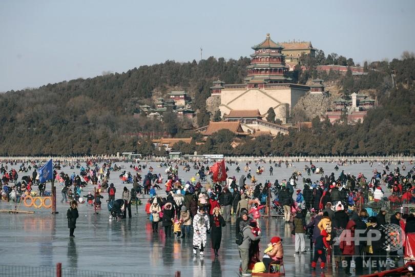 新年は湖の氷上で 北京・頤和園