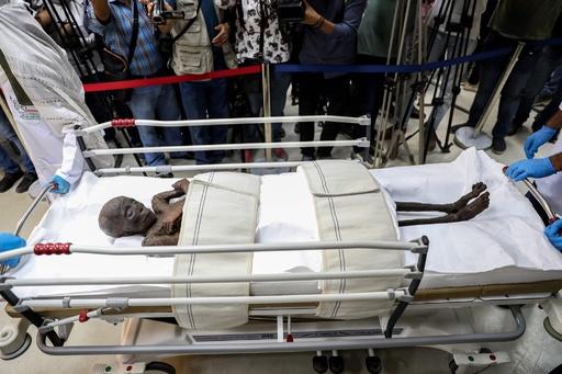 古代エジプトのミイラ、報道陣に公開 消毒作業を前に