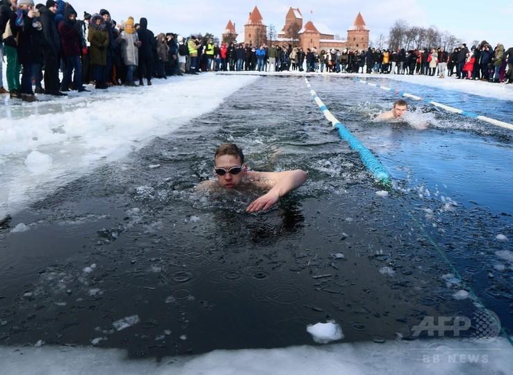 氷点下12度! 寒中水泳大会 リトアニア 写真15枚 国際ニュース:AFPBB News