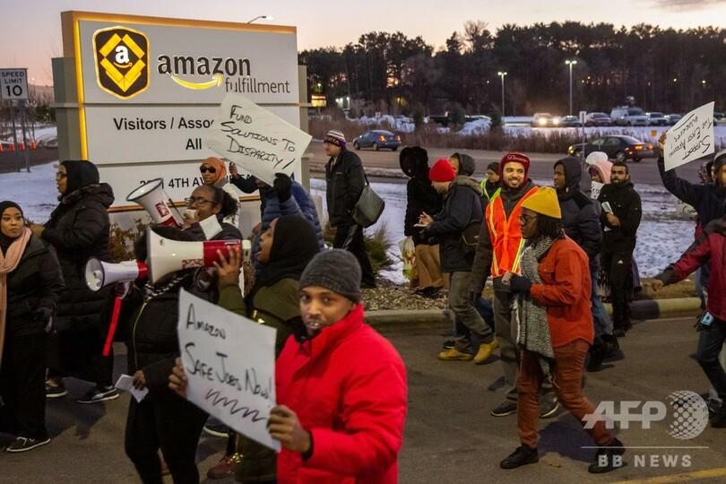 ソマリア難民の米アマゾン従業員ら、労働環境の改善求め抗議デモ