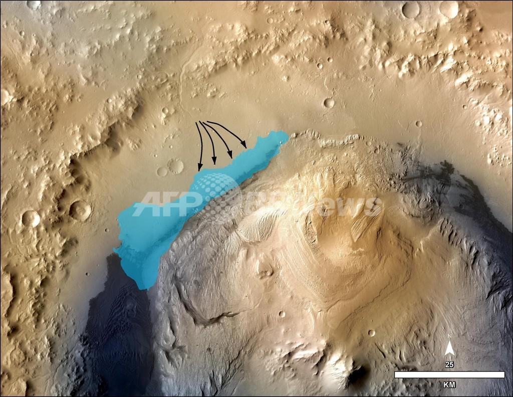 火星に淡水湖の痕跡、微生物いた可能性も
