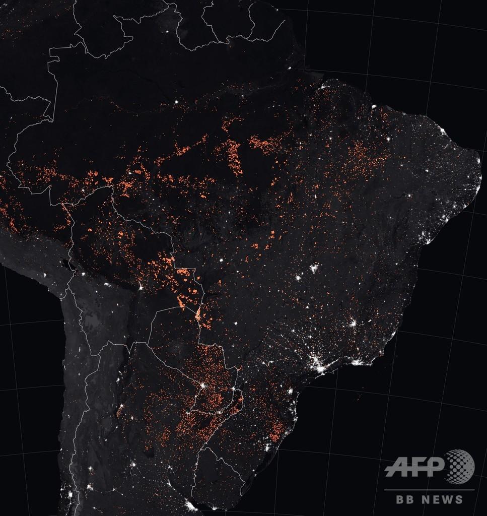 南米アマゾンを赤く染める森林火災、NASAが衛星画像を公開