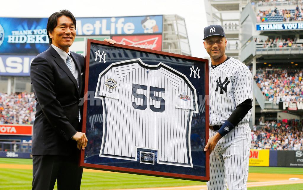 松井氏がヤンキースで引退セレモニー