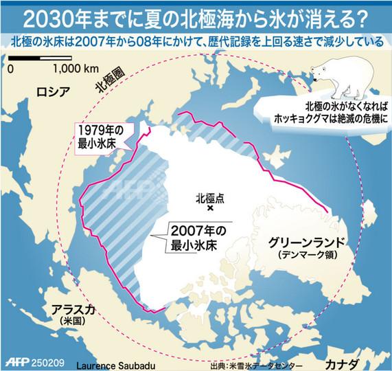 【図解】予想を上回る速度で縮小する北極の氷床