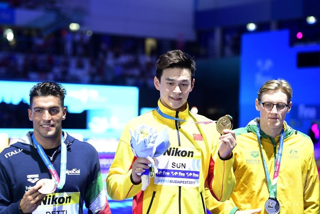 孫陽がホートンに雪辱、世界水泳400m自由形で3連覇