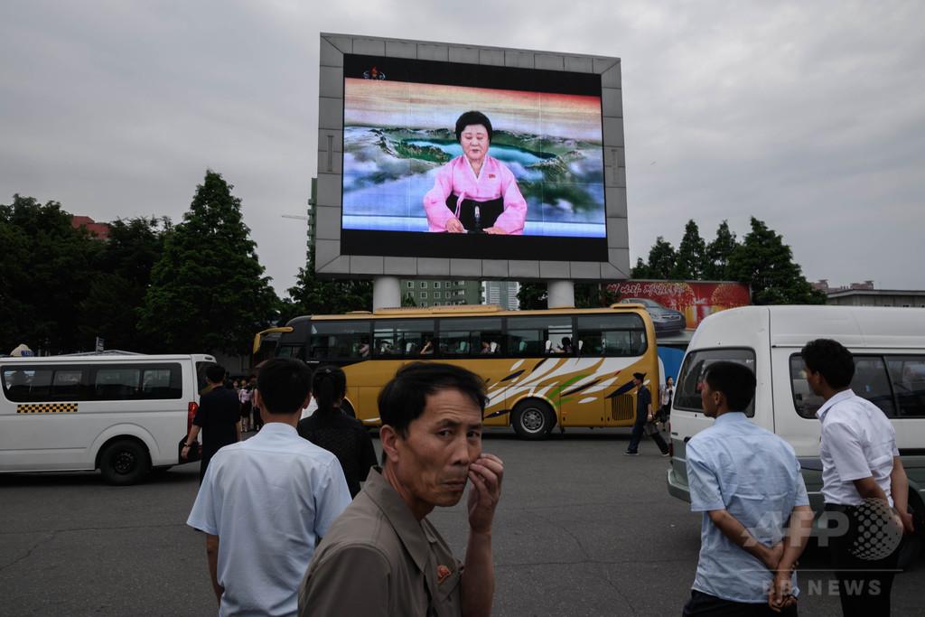 北朝鮮国営テレビ、金委員長を「世界の指導者」と称賛