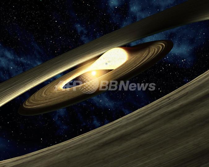 惑星を形成する円盤の仕組み、スピッツァー宇宙望遠鏡からのイメージ図