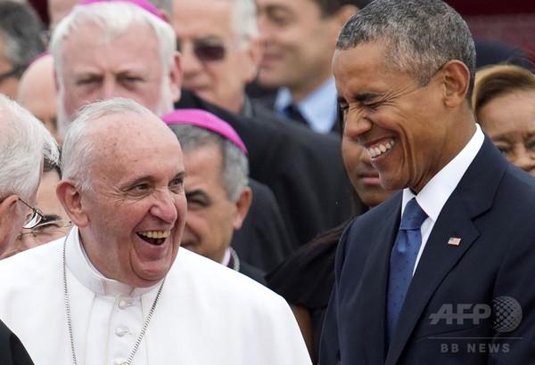 ローマ法王、米国に到着 オバマ大統領一家ら出迎え