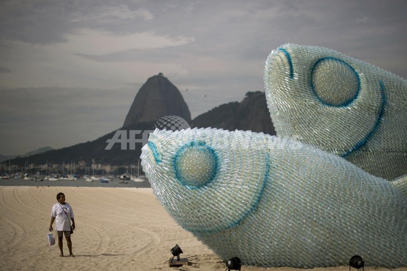 ビーチに巨大な「ペットボトル魚」、リオ+20