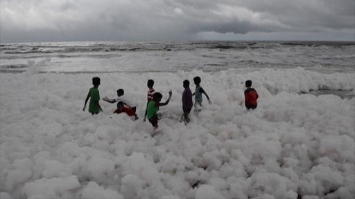 動画:泡だらけの海岸で遊ぶ子どもたち、原因は汚染 印チェンナイ