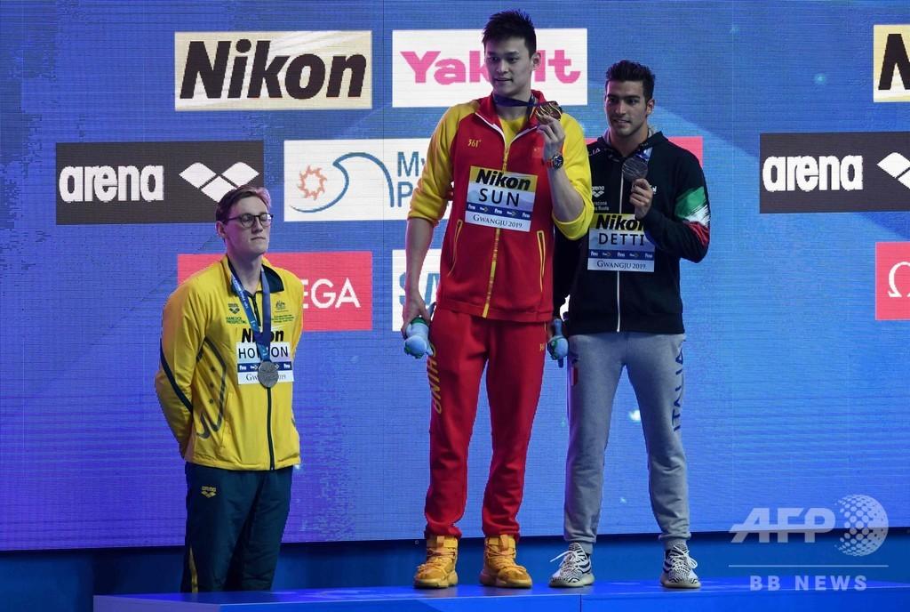 渦中の孫楊が涙の金メダル、2位選手は表彰式で抗議行動