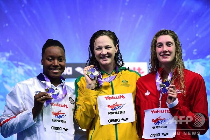 女子100m自由形でキャンベル金、リオ五輪の悪夢振り払う パンパシ水泳