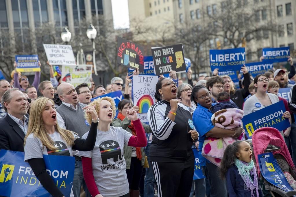 「反同性愛」の米州法に非難集中、著名人や企業が抗議