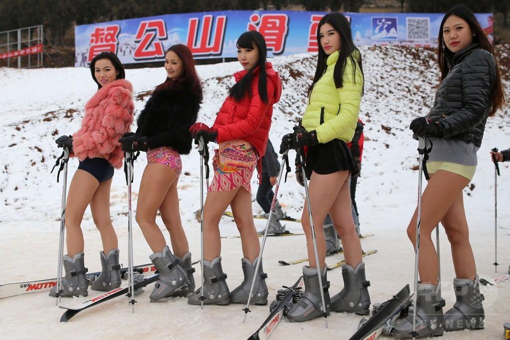 ゲレンデでも「ノーパンツ」、中国スキー場でイベント
