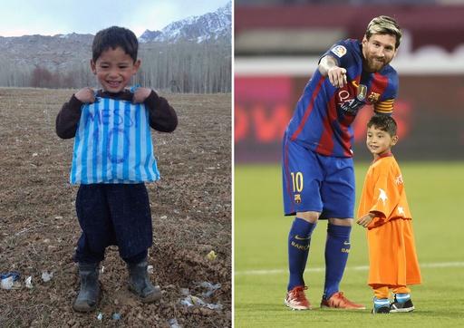 アフガンの「小さなメッシ」の夢かなう!憧れのヒーローと共演