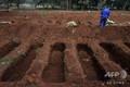 ブラジル・サンパウロ市郊外の墓地に掘られた新しい墓穴(2020年5月20日撮影)。(c)NELSON ALMEIDA / AFP