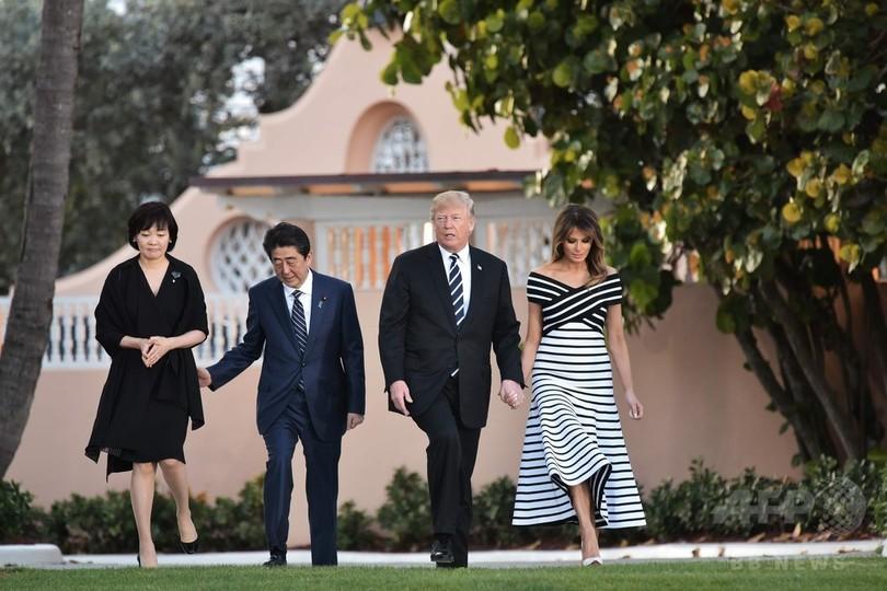 日米首脳、トランプ氏の高級リゾートでディナー 夫人も同席